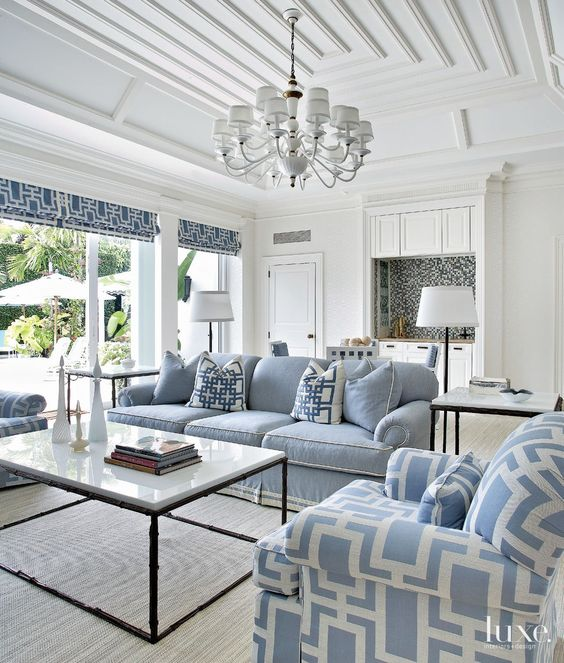 Blue and white pool house. Friday's Favourites, Gallerie B For more inspirations visit: http://www.luxxu.net/press.php  #luxxu #press #luxury: