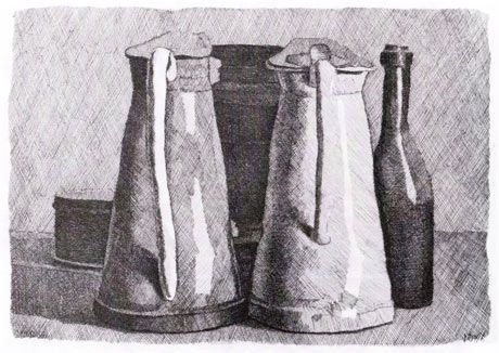 'A bottle that is not part of the secret society cranes its neck to hear': Still Life with Five Objects, 1956 by Giorgio Morandi. Photograph...