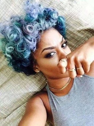 black girl killin that pastel hair Natural hair Curl girl @BaabyPhaTtt: