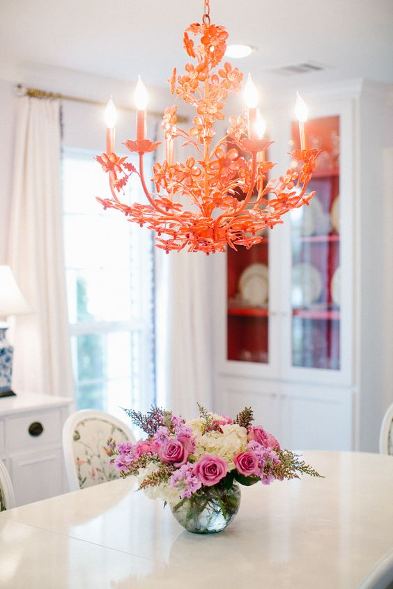 Red chandelier, dining room Design by Bailey McCarthy photo by Kimberly Chau