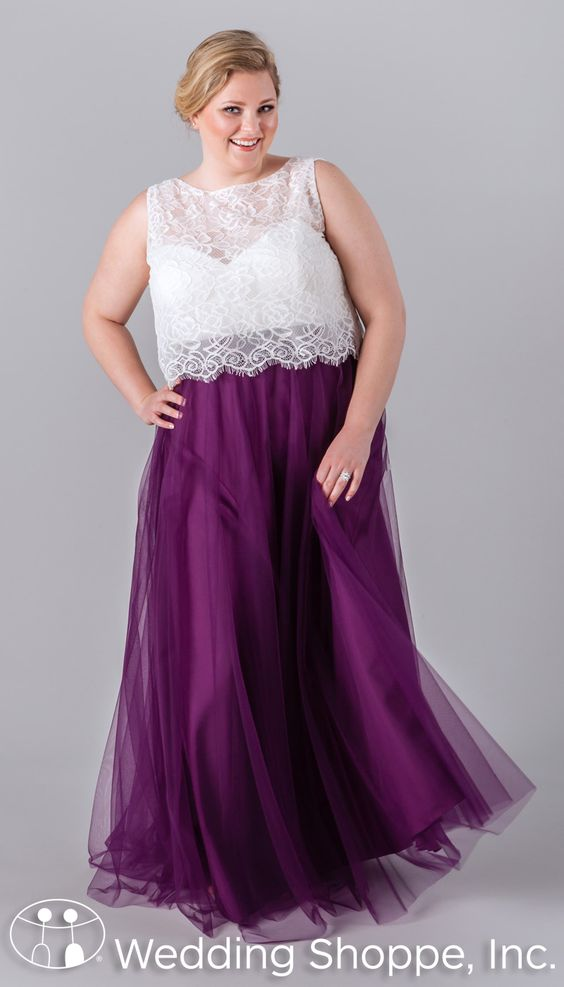 A two piece plus size bridesmaid dress from kennedy blue for Lace top plus size wedding dress