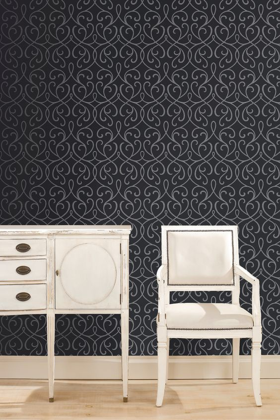 Magnificent Dramatic Black Feature Wall Wallpaper Decor Idea Charcoal Home Largest Home Design Picture Inspirations Pitcheantrous