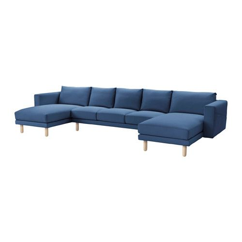 IKEA - NORSBORG, Sectional, 5-seat, Edum dark blue, birch, , Big or small, colorful or neutral. The sofa comes in many shapes, styles, and sizes so that you can easily find one that suits you and your family.A soft and comfortable sofa filled with high resilience foam that supports your body and quickly regains its shape when you stand up.Slightly higher armrests make it extra comfortable to curl up in the corner of the sofa.The cover is easy to keep clean as it is removable and can be…