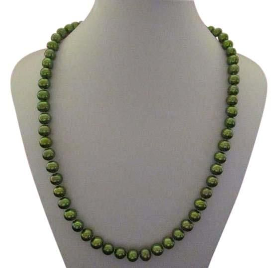 Dyed Cultured Freshwater Pearl Set. Green (Dyed) Freshwater Pearl Necklace, Bracelet a...