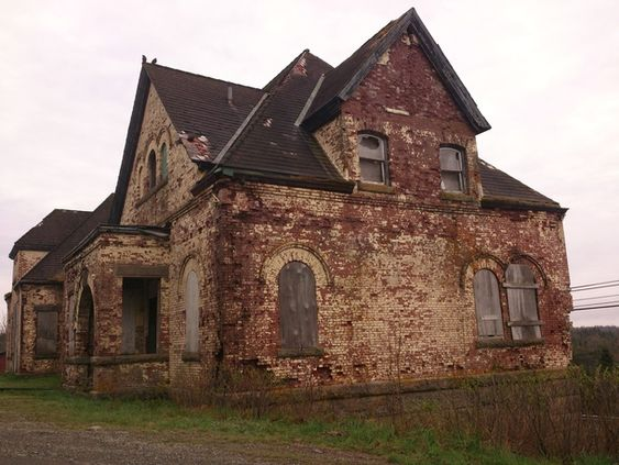 Aging cable building in Canso, Nova Scotia. The first distress call from the Titanic was received in this building.