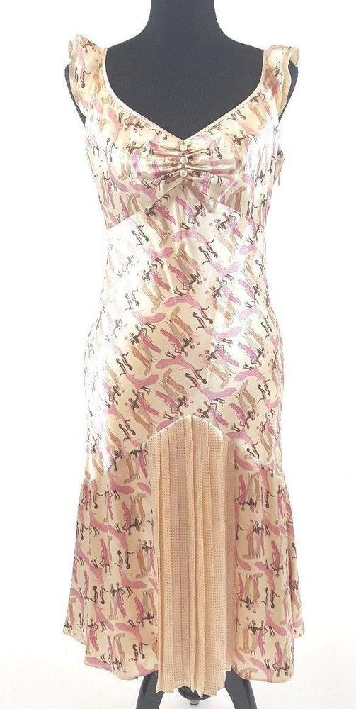Laundry Shelli Segal Dress Silk Flapper Art Deco Size 10 Pleats