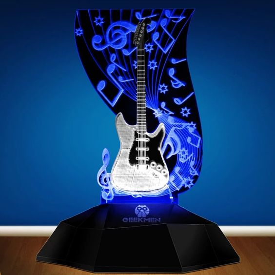 Music Note Lighting Art Music Instrument Guitar 3d Line Lamp Led Decorative Desk Lamp Guitarist Music Room Night Decor Desk Decor Music Room Music Instruments Guitar