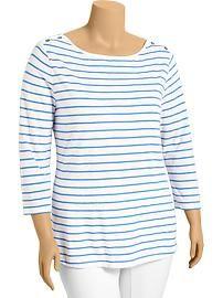 Women's Plus Striped Boat-Neck Tops