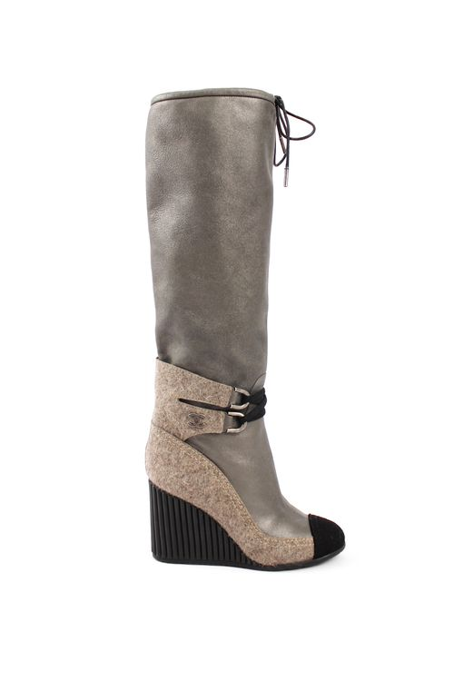 Chanel Metallic Leather Wedge Boot with Wool Paneling and Tie Detail - $625
