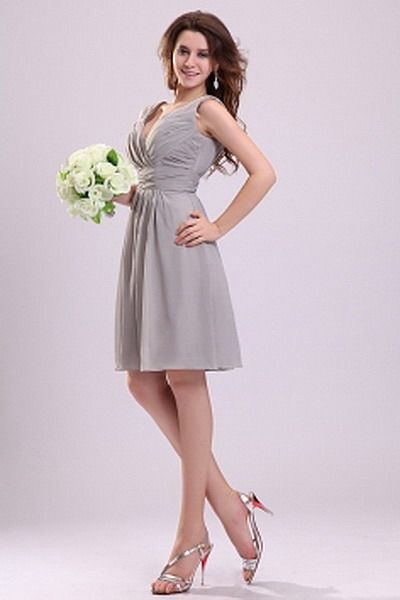 Gray Classic A-Line Prom Gown - Order Link: http://www.thebridalgowns.com/gray-classic-a-line-prom-gown-tbg6578 - SILHOUETTE: A-Line; SLEEVE: Sleeveless; LENGTH: Knee Length; FABRIC: Chiffon; EMBELLISHMENTS: Draped - Price: 189USD