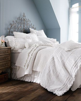 """""""Julianna"""" Bed Linens by Amity Home at Horchow. THESE are really expensive but they have such pretty things. I like that the side table is different and the light blue stripes on wall"""