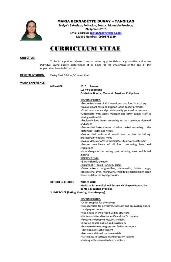 best good resume objectives ideas pinterest career examples - sample resume for pastry chef