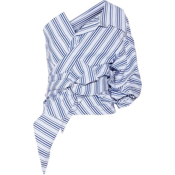 Johanna Ortiz Sherlock one-shoulder striped cotton-poplin top (€900) ❤ liked on Polyvore featuring tops, sky blue, wrap tops, blue shirt, tie shirt, blue striped shirt and blue stripe shirt