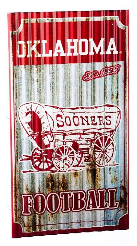 Oklahoma Sooners Corrugated Metal Wall Sign - Heartland Flags