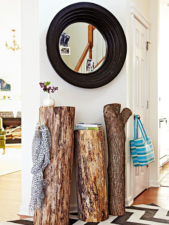 Craft a simple entryway table from logs. Simply prop table-height sections of logs against a wall