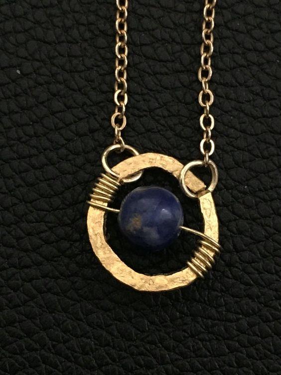 handmade dainty boho style necklace Sodalite gold by PopandLocket