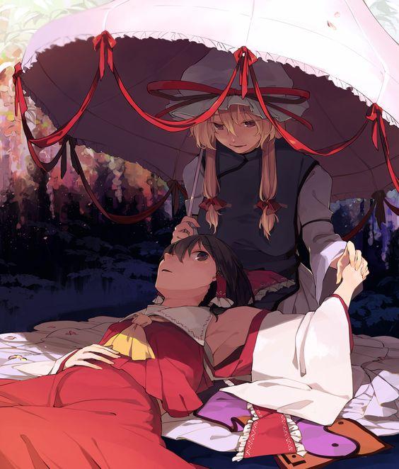 東方project 日傘のもとで膝枕する紫と霊夢)