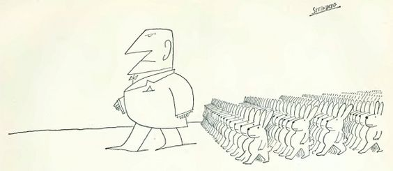 The best lack all conviction, while the worst Are full of passionate intensity. Illustration by Saul Steinberg (1967)