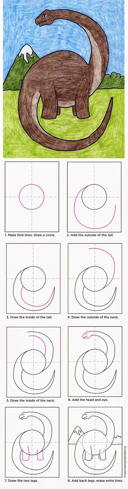 How to Draw a Diplodocus - ART PROJECTS FOR KIDS