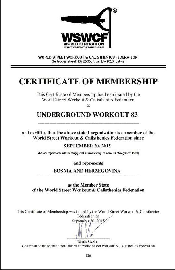 Certificate of membership In world Street Workout \ Calisthenics - sample membership certificate