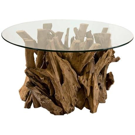 My friend has a couple of driftwood tables on her patio -  I want this!