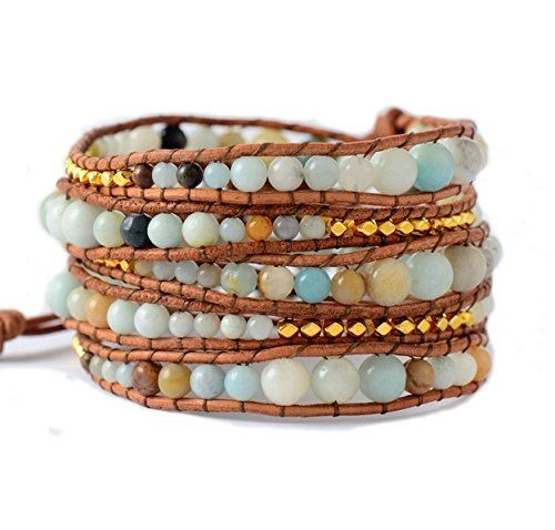 Amazonite Wrap Bracelet | Natural Stones Beaded Leather Wrap Bracelet