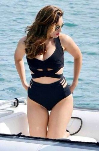 swimwear black black bikini two-piece black two piece set high waisted cut out bikini black swimwear plus size cutout kelly brook