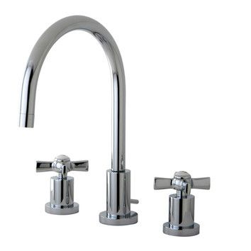 Kingston Brass bathroom widespread faucet in polished chrome. Kingston Brass Millennium Double Handle Widespread Bathroom Faucet