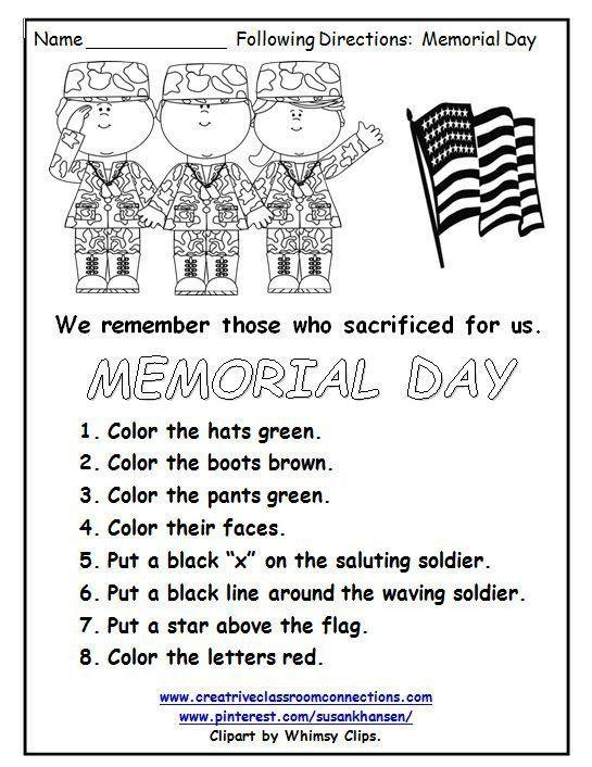 Memorial Day Worksheets For Kindergarten This Free Memorial Day Worksheet Reminds Stud In 2020 Worksheets Free Memorial Day Activities Reading Comprehension Worksheets