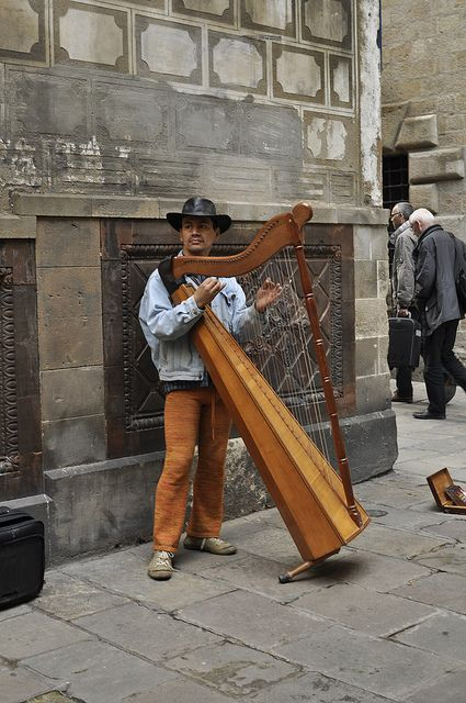 Just a man and his harp.  Not the typical instrument to busk with.