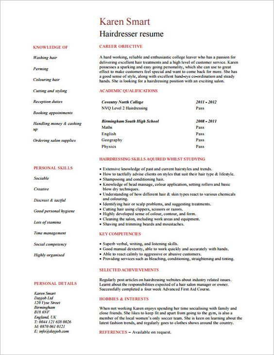 Resume For Hairstylist Resume For Hair Stylist  Httpresumesdesignresumeforhair