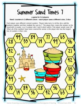 Summer Sands Times 7 - a quick, fun math board game for reviewing multiplying by 7. From Summer Math Games, Puzzles and Brain Teasers from Games 4 Learning. $