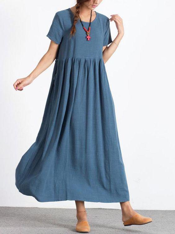 Cotton Round Neck Plain Maxi Dress