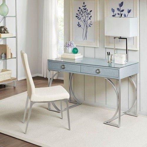 Blue Silver Desk Silver Metal Trestle Base With Images Silver Desk Silver Furniture Home Decor