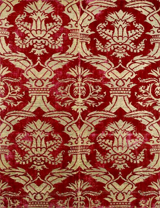 Voided silk velvet and metal thread brocade panel. Turkey. 16th century, probably before 1550.