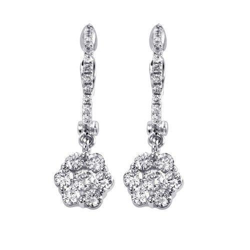 Earrings 18K White Gold Diamond Flower Dangle Earrings SE47161RBZ
