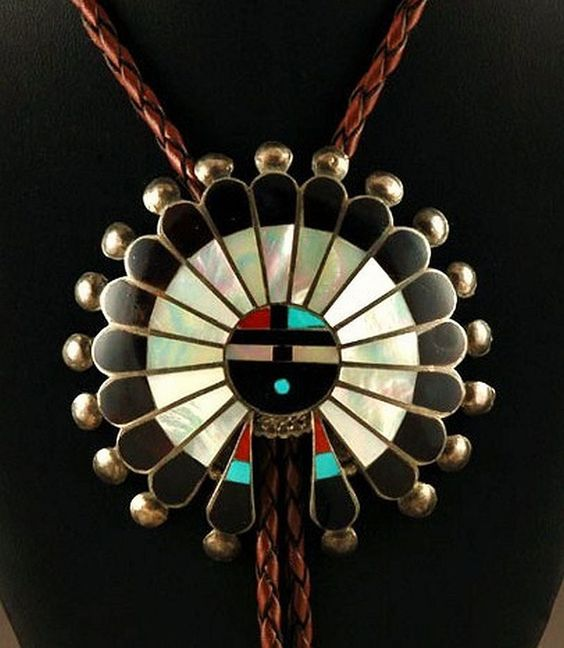 Outstanding Vintage Pawn Zuni Sterling Silver Mutli-Gems Inlay LRG Sunface BOLO TIE c1950/70