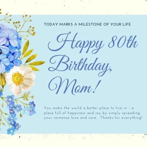 Sentimental Birthday Greeting For Mom Happy 80th Birthday 80th Birthday Birthday Greetings For Mom