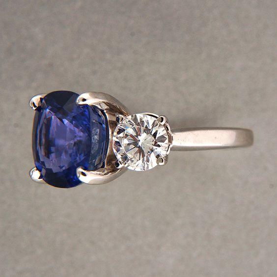 antique cushion cut saphire and side diamond rings | Vintage 7 72ct Cushion Natural Blue Sapphire 1 70ct Diamond Platinum ...