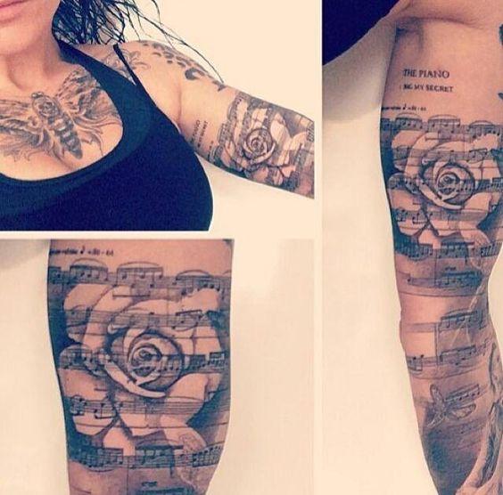 Musiknoten tattoos musik noten and musik on pinterest for Tattoo noten