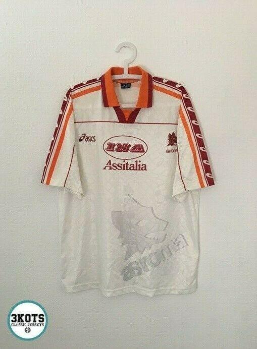 As Roma 1995 96 Away Football Shirt L Xl Asics Vintage Soccer Jersey Asics Asroma Camisetas Playeras Futbol