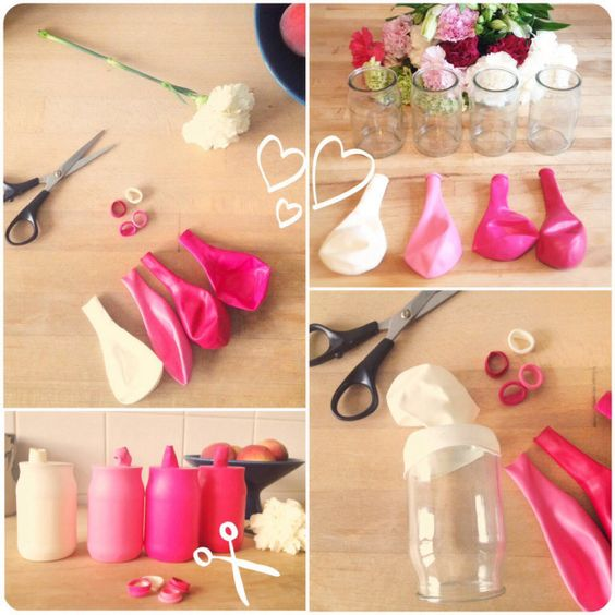 Diy des petits vases color s ballon d 39 or tables et vase - Pot yaourt en verre ...