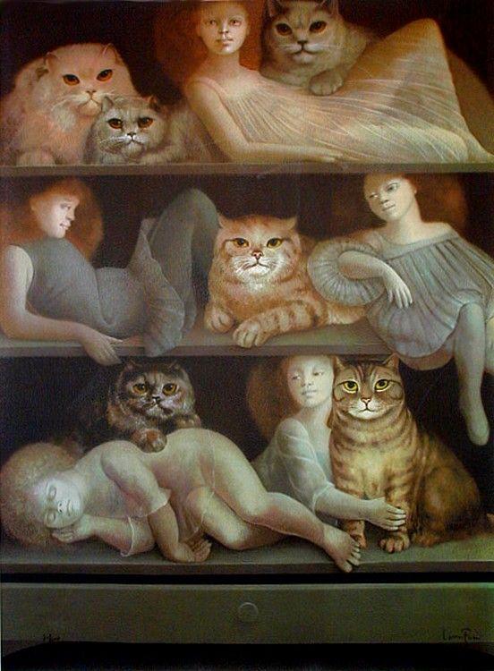 Leonor Fini (1907-1996) — Dream of Cats  (552x750):