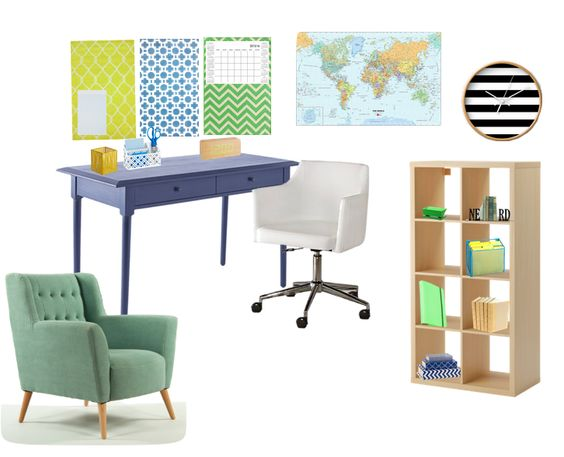 Office / studyspace - blue - green - yellow - worldmap - black and white