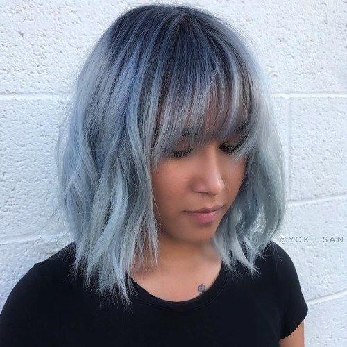 50 Classy Short Bob Haircuts And Hairstyles With Bangs Short Blue Hair Light Blue Hair Thick Hair Styles