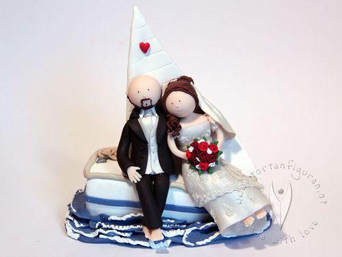 Segel Brautpaar Hochzeitstortenfigur von www.tortenfiguren.at