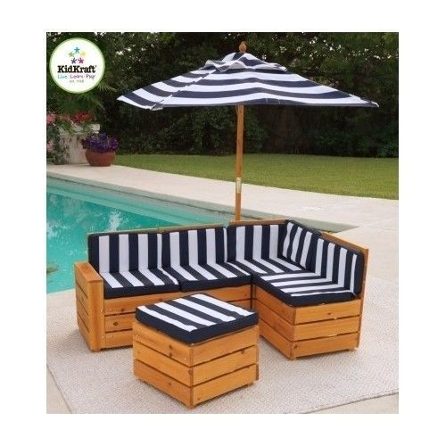 Attractive Child Patio Furniture Set Pool Deck Lawn Outdoor Sofa Wood Umbrella Kid 5  Pc This Is