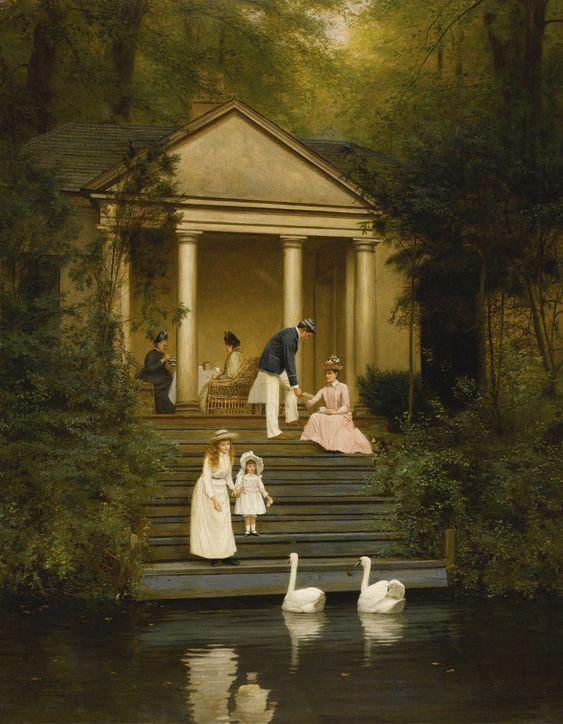 Edith Hayllar, Dando de comer a los cisnes, 1889