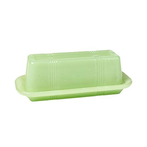 Jade Green Glass Butter Dish Vintage Country Kitchen Serving Accents The Lakeside Collection In 2020 Butter Dish Green Glass Vintage Country
