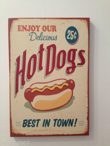 NEW SEALED RETRO AMERICAN DINER KITCHEN CAFE HOT DOGS CANVAS POP ART PICTURE | eBay